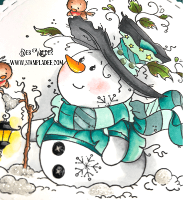 Mr. Frosty snowman lights up the evening with a lantern.