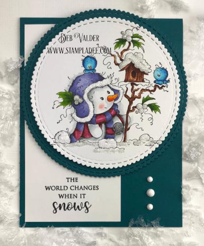Miss Frosty snowman has a few bird friends.