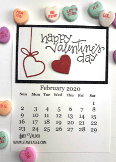 February Calendar Happy Valentine's Day with hanging heart