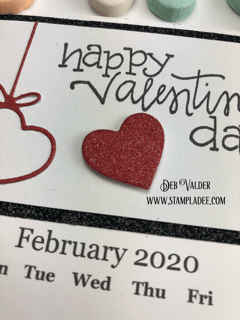Happy Valentine's Day hanging heart calendar