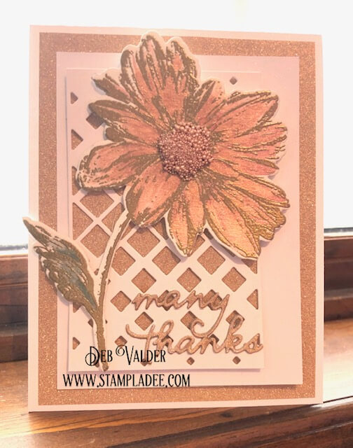 Radiant Flower from Penny Black with Prills for a thank you card.