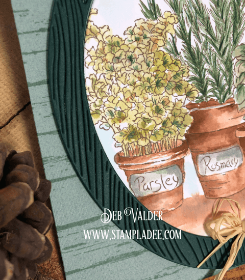 Watercoloring an herb garden with a shiplap background.