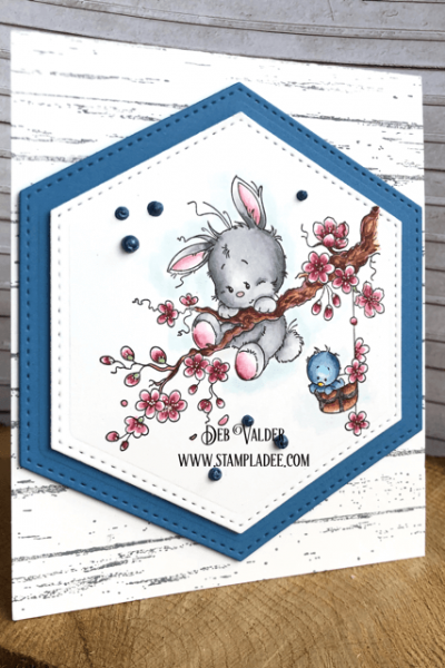 This whimsical Springtime Bunny is hanging around.