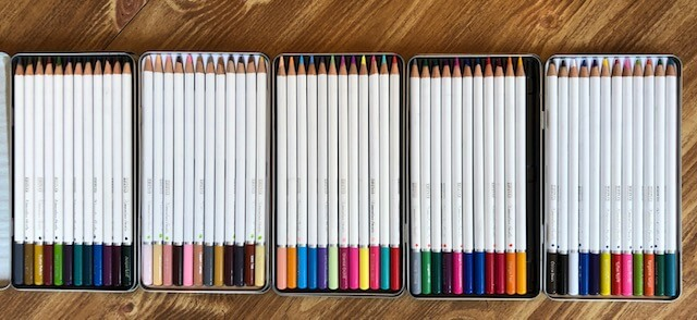 Watercolor with our five sets of watercolor pencils.