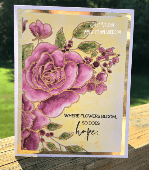 Learn to watercolor a rose with Deb Valder using Teaspoon of Fun's rose stamp set.