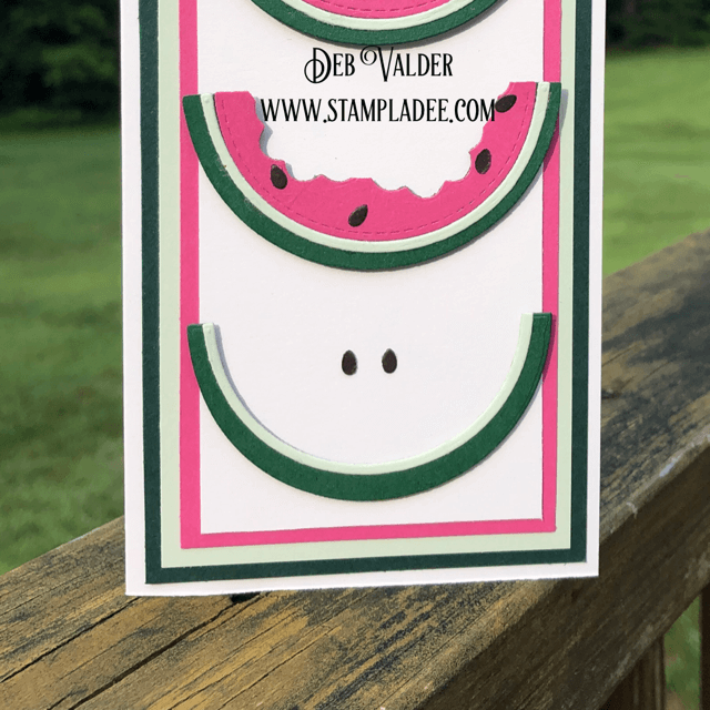 Slimline Watermelon Card is from our newest card kit found in the Teaspoon of Fun Shoppe.