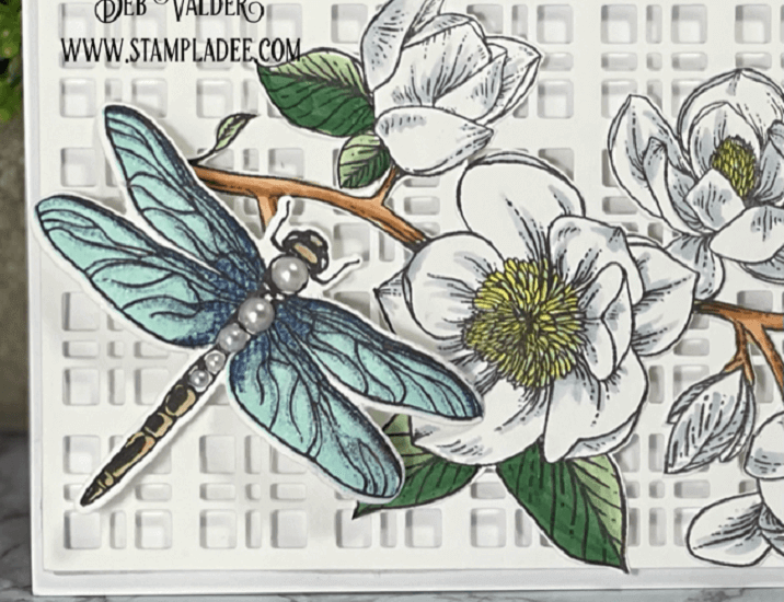 Slimline Magnolia Using Trellis Plate. All products can be found in our Teaspoon of Fun Shoppe.