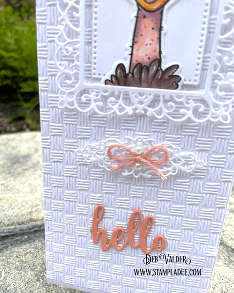 Hello Sweet Ostrich. All products for this card can be found in our Teaspoon of Fun Shoppe at www.TeaspoonOfFun.com/SHOP