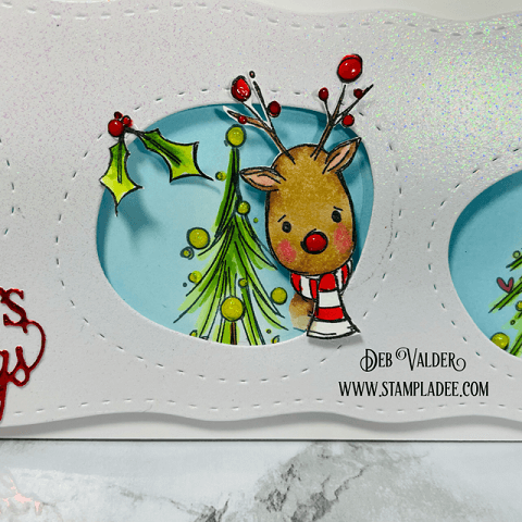 Christmas Peekaboo Reindeer wobble card. All products can be found in our Teaspoon of Fun Shop at www.TeaspoonOfFun.com/SHOP