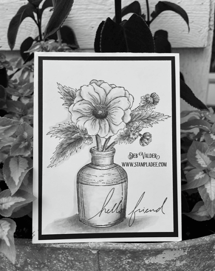 Sketched Vintage Bloom card. All products can be found in our Teaspoon of Fun shop at www.TeaspoonOfFun.com/SHOP