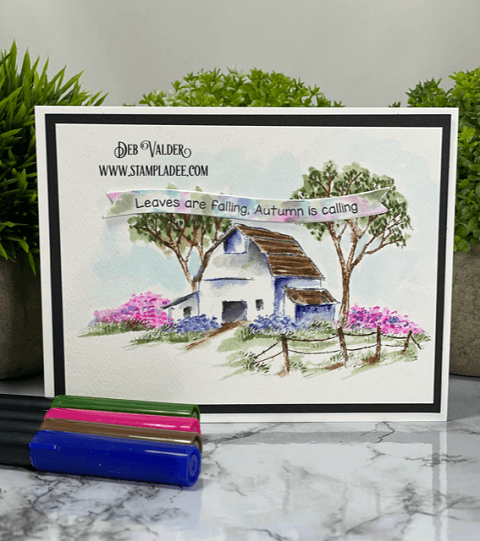 Leaves are Falling, Autumn is Calling. This watercolor barn and all products used can be found on our Teaspoon of Fun Shop at www.TeaspoonOfFun.com/SHOP